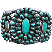 Heavy Battle Mountain Turquoise Navajo Cluster Bracelet 1930's