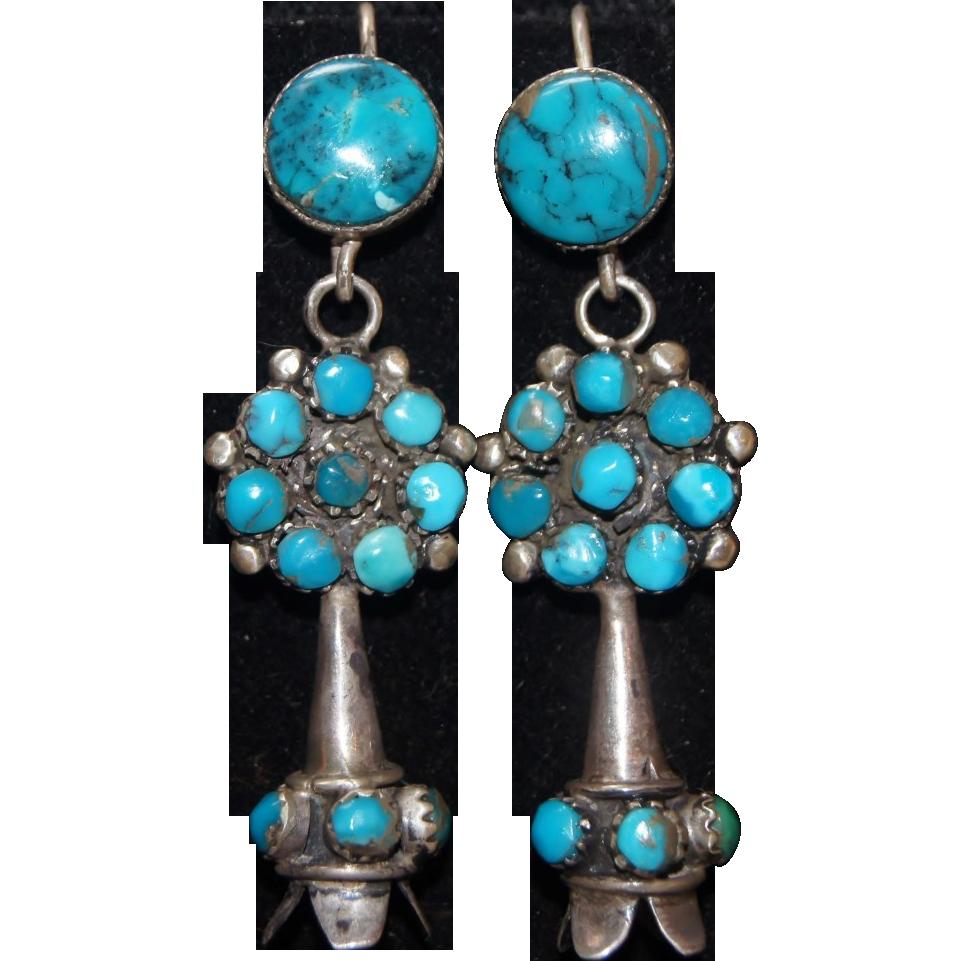 Zuni Earrings: Zuni Morenci Turquoise Squash Blossom Earrings From