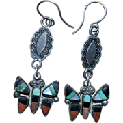 Vintage Zuni Butterfly Earrings