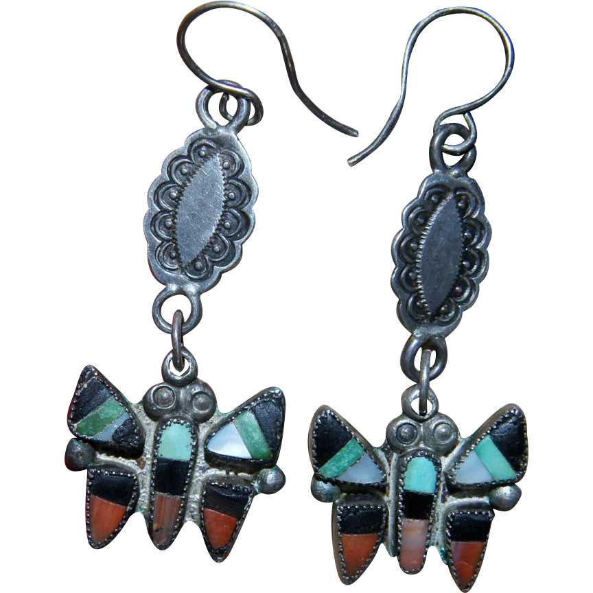 Vintage Zuni Butterfly Earrings