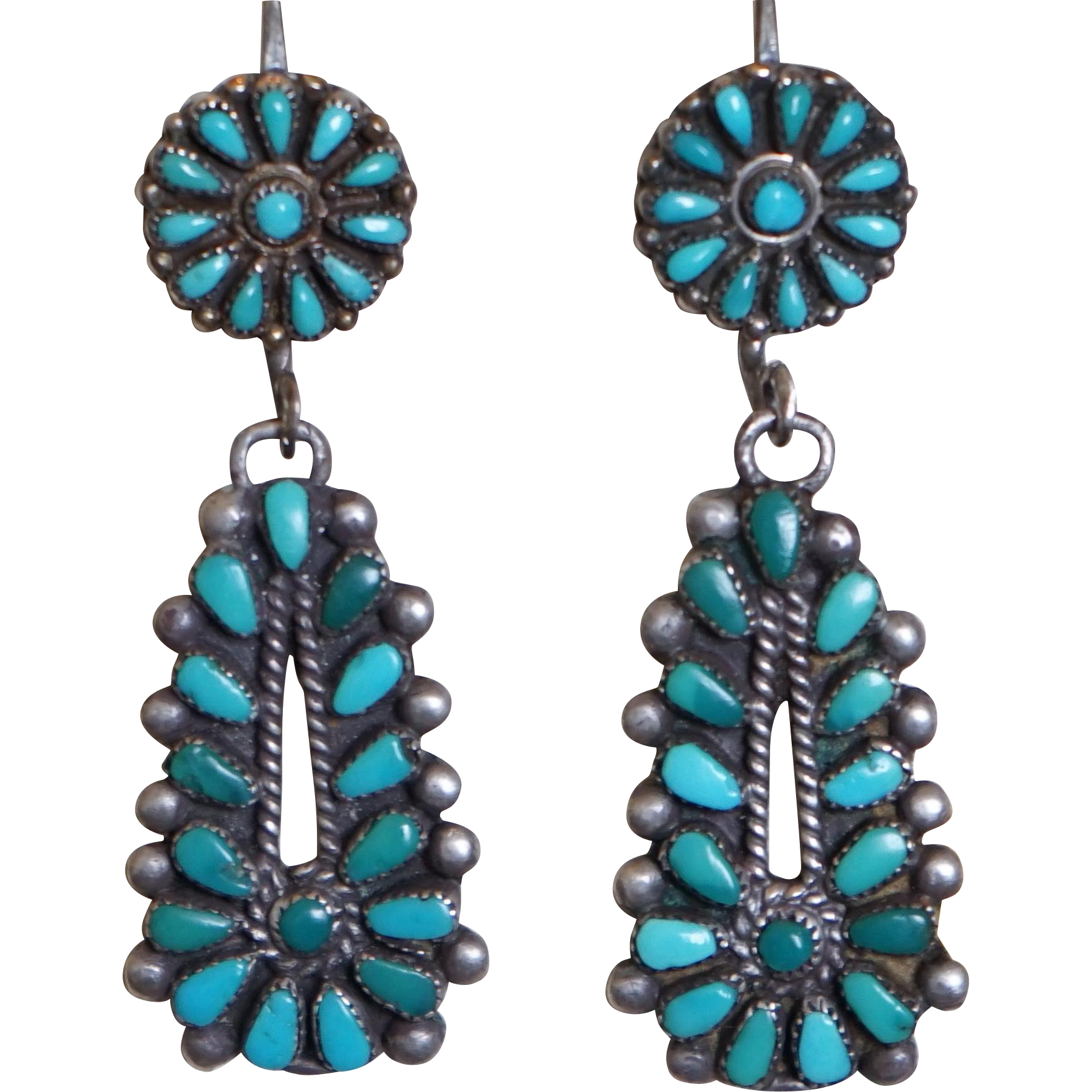 Zuni Earrings: Vintage Zuni Turquoise Earrings From Uchizonogallery On