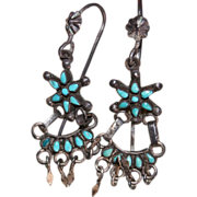Zuni Turquoise Star Tiered Earrings