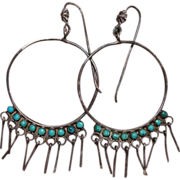 Vintage Zuni Hoop Earrings