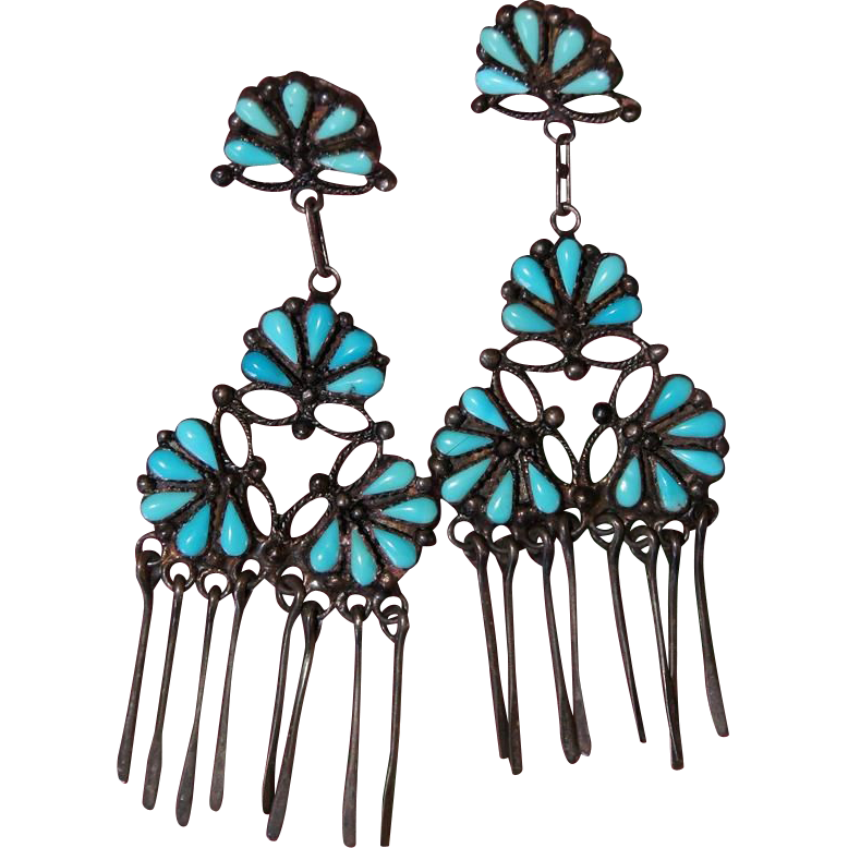Zuni Petit Point Floral Drop Earrings With Dangles