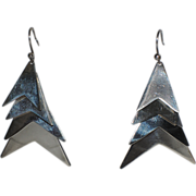 Mid Century Modern Taxco Chevron Sterling Silver Chandelier Earrings