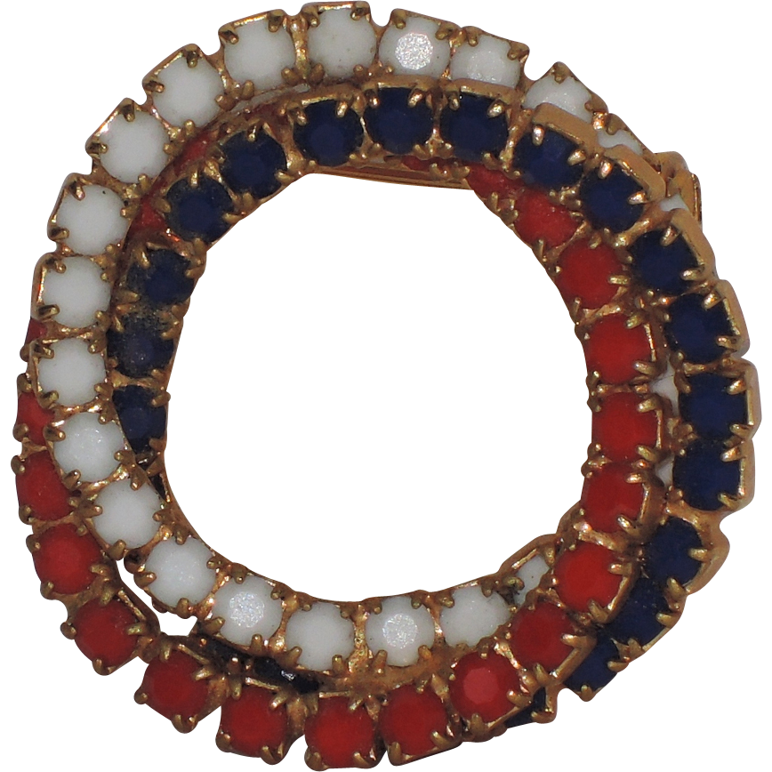 Juliana Delizza Elster Red, White Blue Circle Pin from rubylane-sold ...