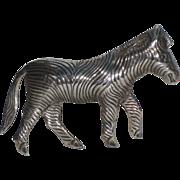 Zebra Sterling Silver Figural Brooch