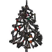 Pine, Bells & Candles Christmas Tree Pin, Book Piece