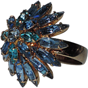 RARE ~ Napier 1960's Tiered Sapphire-Aqua Blue Rhinestone Cocktail Ring