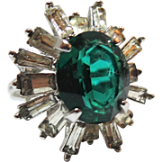 Napier Emerald and Rhinestone Baguette Cocktail Ring ~ Size 7