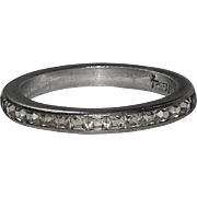 Trifari Sterling Clear Baguette Eternity Ring, Size 7.5