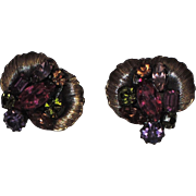 Vendome 1950's 3D Floral Space Age Earrings ~ Magazine Ad Piece