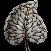 Napier 1950's White Leaf Stone Brooch