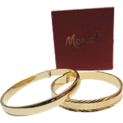 Monet 1970's Pair of Bangle Bracelets ~ Mint in Box