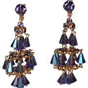 Hattie Carnegie Purple Crystal Chandelier Earrings