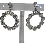 Weiss 1960's Clear Rhinestone Hoop Earrings