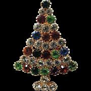Lysa Signed Crystal Christmas Tree Pin, Large