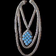 Trifari 1970's Waterfall Blue-Silver Tone Pendant Necklace