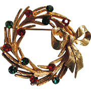 Mylu Signed Christmas Holiday Wreath Brooch, Book Piece