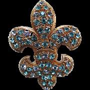 Lisner Fleur-De-Lys Brooch, Aqua & Alexandrite Rhinestones