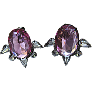 Huge Vintage Glamour Pink & Clear Glass Earrings