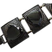 1960's Chunky Black Glass Triangle Panel Bracelet