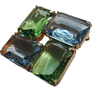 RARE Cadoro Green and Blue Glass Square Modernist Brooch, Book Piece