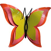RARE Corocraft Butterfly 1960's 3D Neon Pin