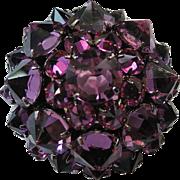Kramer of New York Purple Inverted Stones 3D Domed Brooch