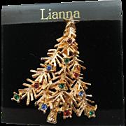Lia - Lianna, Inc. Christmas Tree Pin ~ Mint on Card ~ Book Piece
