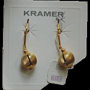 Kramer of New York Gold Drop Earrings, Mint on Original Card