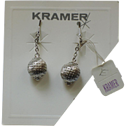 Kramer NY Silver Drop Earrings, Mint on Original Card