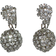 1960's Rhinestone Ball Drop Earrings