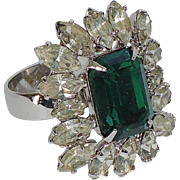 Napier 1950's Emerald Rhinestone Cocktail Ring ~ Adjustable Size