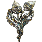 1940's Acorn Oak Leaves Sterling Silver Brooch