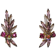 Juliana Delizza & Elster Purple Glass Navette & Rhinestone Spray Earrings
