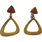 Vendome 1960's Mod Yellow Enamel Triangle Drop Earrings