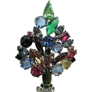 Fruit Salad Glass and Rhinestone Christmas Tree Pin