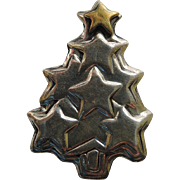 Far Fetched 1980's Sterling Silver & Brass Star Christmas Tree Pin