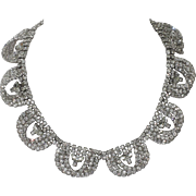 Kramer of New York 1955 Diamond Look 3D Rhinestone Loop Necklace, Magazine Ad Piece