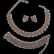 Coro Mid Century Modern Purple Boomerang Demi Parure ~ Pristine