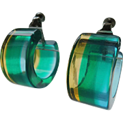 Vendome 1960's Psychedelic Blue-Green-Yellow Tinted Lucite Hoops ~ Book Piece