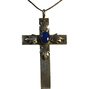 Navajo Sterling & Lapis Cross Pendant Necklace ~ Signed PP