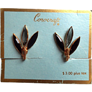 Corocraft Chic Daisy Glass Petal Earrings ~ Mint on Original Card (Brooch Listed Separately)