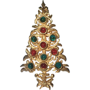 SCARCE DeNicola Signed Glass Cabochon Christmas Tree Pin ~ Book Piece