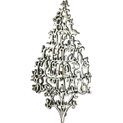 RARE Signed Alphabet ABC Sterling Silver Christmas Tree Pin, Book Piece