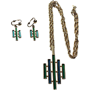 Jewel-Aware Mid-Century Modern Pendant Necklace & Earrings Set