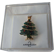 Anne Klein 2 Designer Christmas Tree Pin in Original Box ~ Book Piece