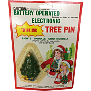 1984 Christmas Tree Pin, Battery Operated Twinkle Lights, Mint in Package