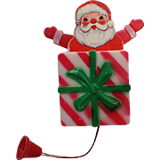 1950's Pop Up Santa 3D Mechanical Celluloid Pin ~ Excellent